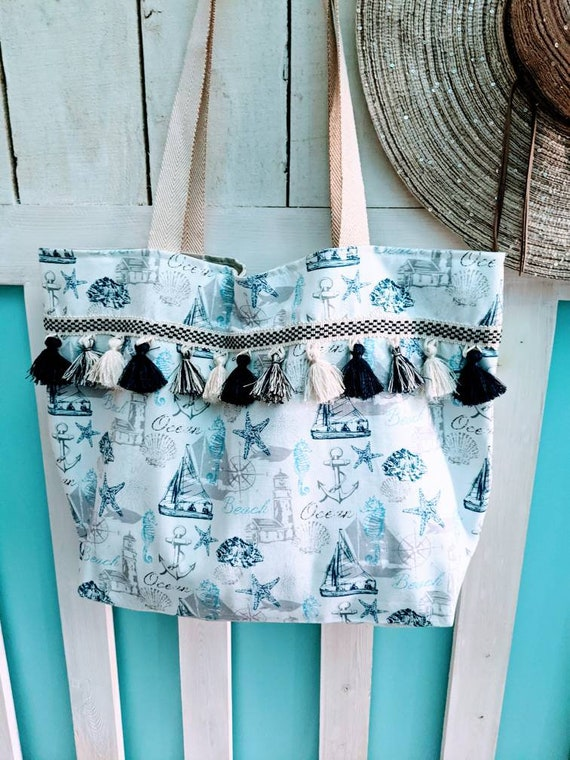 Large Coastal Beach Bag