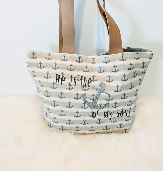 Anchor Tote Bag / Handmade Bag / Nautical Theme Tote Bag