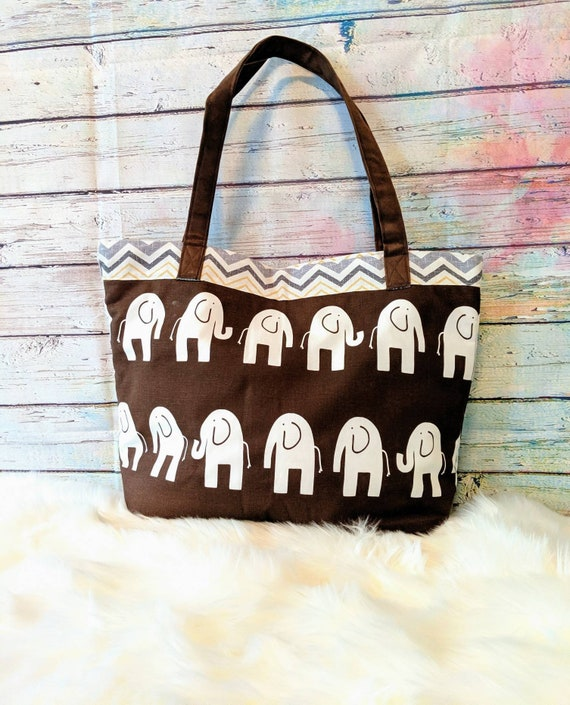 Elephant Diaper Bag / Baby Gift / Extra Large Baby Bag / Baby Bag / Baby Shower Gift / Diaper Bag / Nursery / Elephant / Brown Elephant Bag