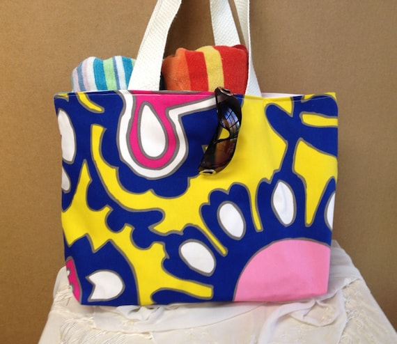 Bright Summer. Bag / Large White Yellow and Blue Large Tote. Bag