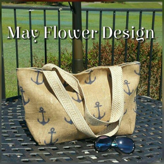 Anchor Tote / Burlap Nautical Tote Bag