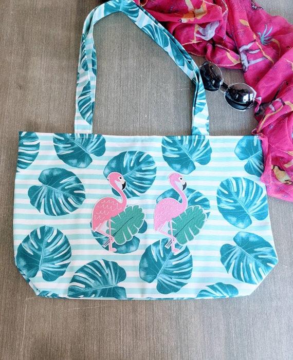 Flamingo Beach Bag /Blue Tropical Leaf Bag