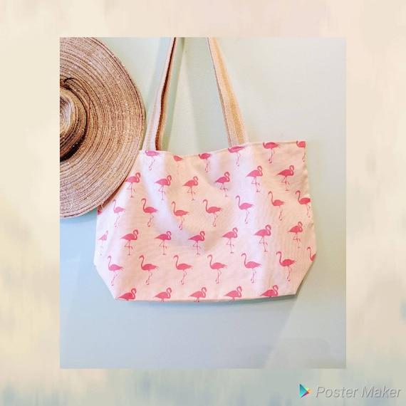 Large Flamingo Tote / Flamingo Bag / Pink Flamingo / Beach bag / Custom Made / Overnight Bag / Flamingo Tote/Gym Bag/Groceries Bag/Flamingo