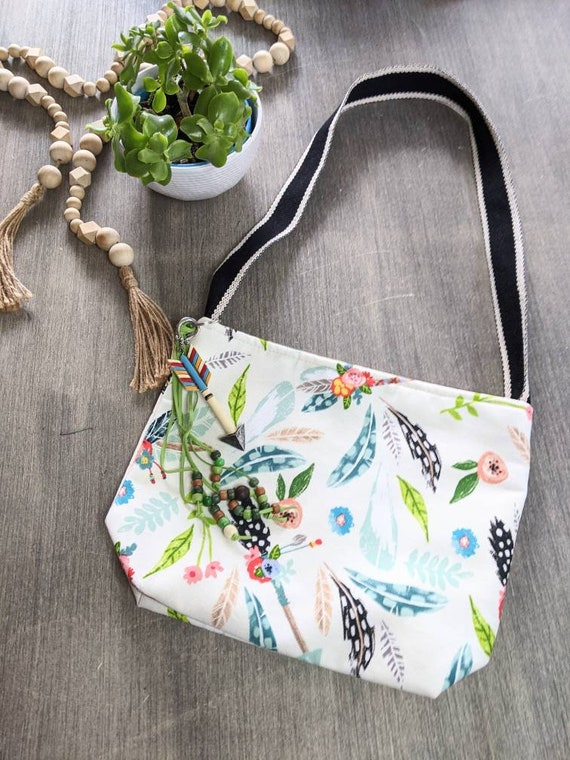 Boho Inspired Shoulder Bag / Feather Bag