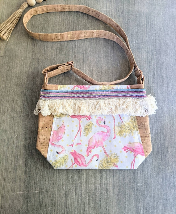 Flamingo Cork Crossbody Bag