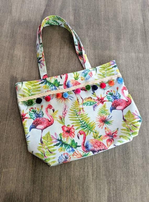 Flamingo Tropical Beach Bag