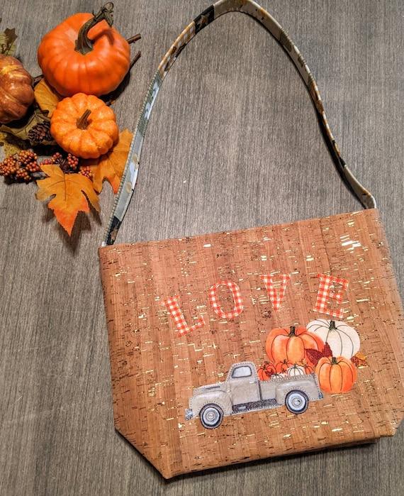 Cork Shoulder Bag / Fall Bag/ Pumpkin Pocketbook