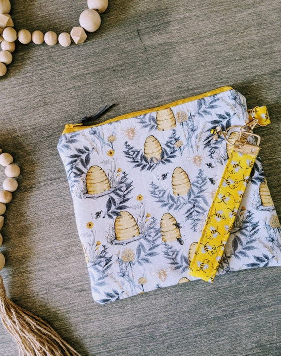 Bee Clutch Wristlet Bag / Make up Bag / Pouch / Beehive Bag