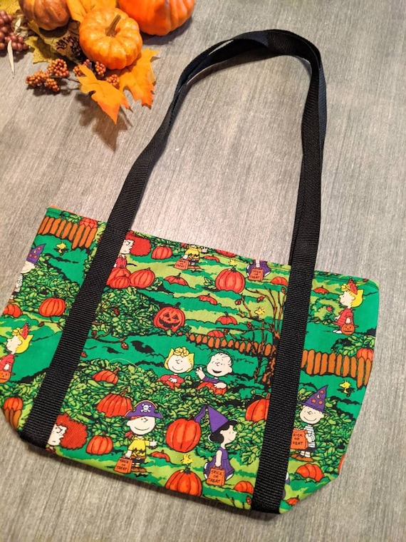 Snoopy Fall Bag / Charlie Brown and Friends Tote Bag / Fall Charlie Brown Tote Bag / Green Snoopy Bag / Fall Tote Bag