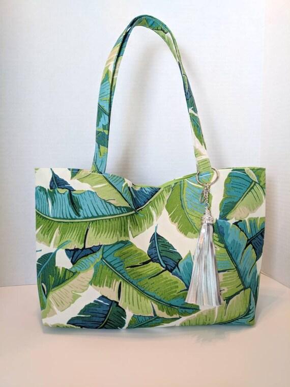 Tropical Leaves Tote Bag / Tote Bag / Green Leaves / Custom Made Tote