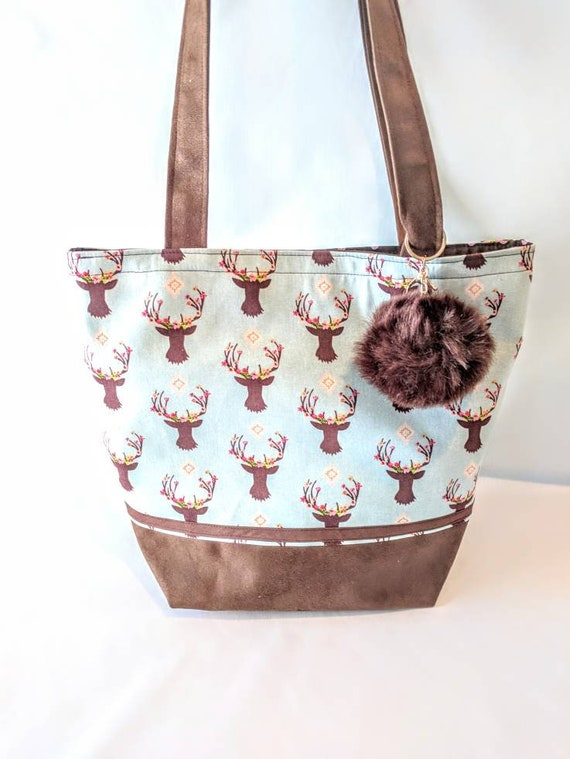 Floral Antles / Floral Antles Bag / Antlers Tote Bag / Antlers Bag / Tote Bag / Custom Made / Deer Antler Print Bag