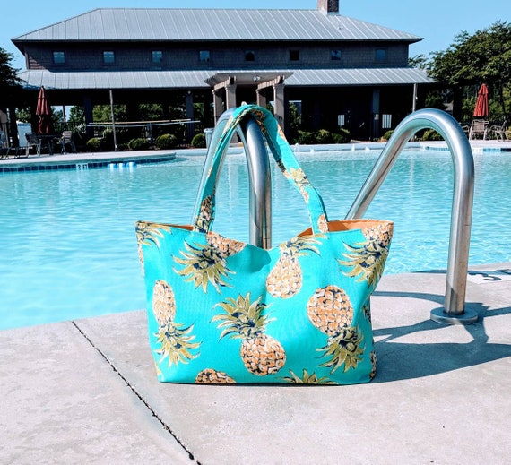 Pineapple Beach Bag / Large Pineapple Bag /Teal Pineapple Bag  / Overnight Bag