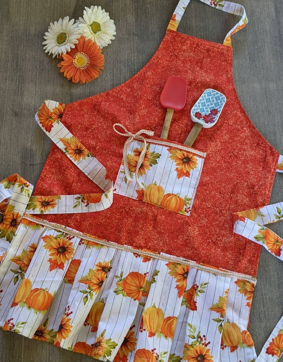 Sunflower Pumpkin Apron / Kitchen Apron / Christmas gift / Kitchen Apron
