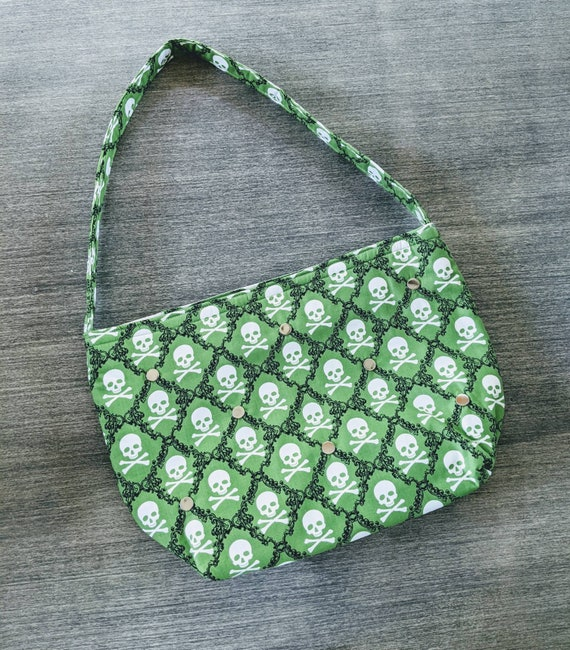 Green White Skull Shoulder Bag / Handmade Bag