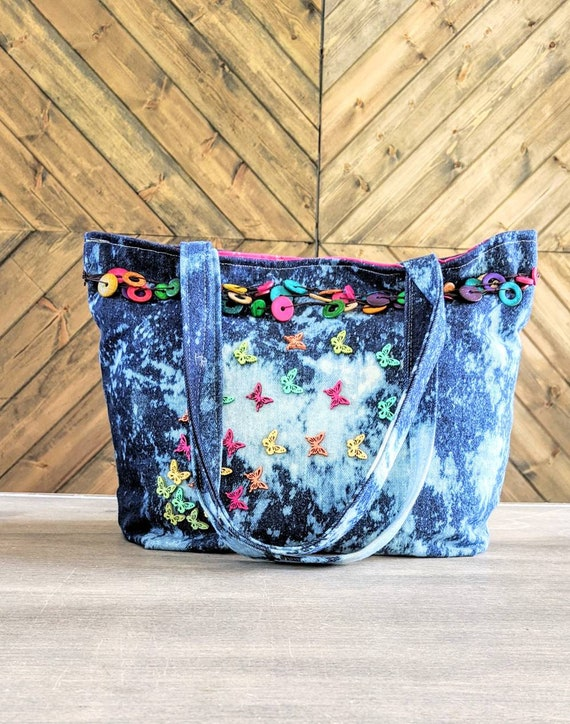 Denim Tote Bag / Acid Denim Wooden beaded Bag