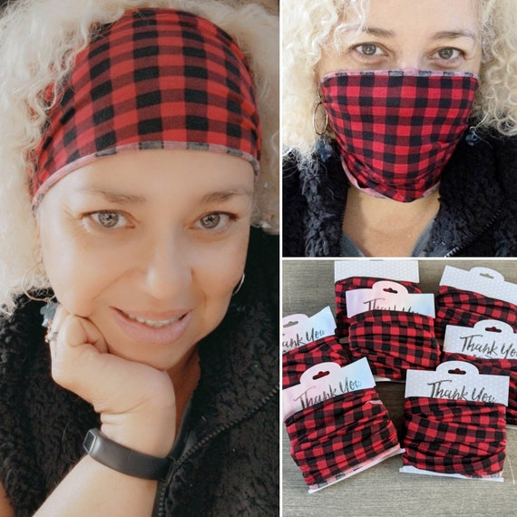Headband / Bandeau Headband/ Buffalo plaid gaiter / Buffalo plaid headband / Black and White Plaid Bandeau/ Yoga Headband
