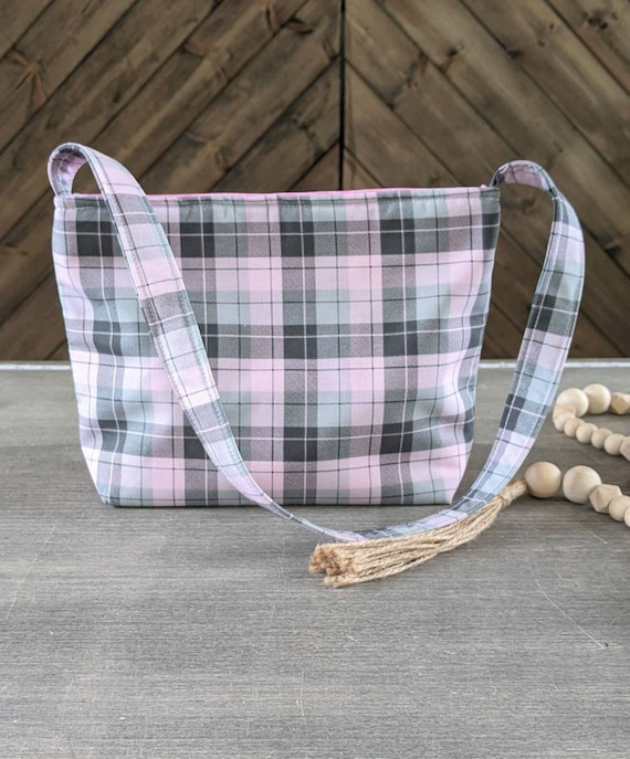 Pink Plaid Shoulder Bag / Plaid Bag / Small Plaid Bag