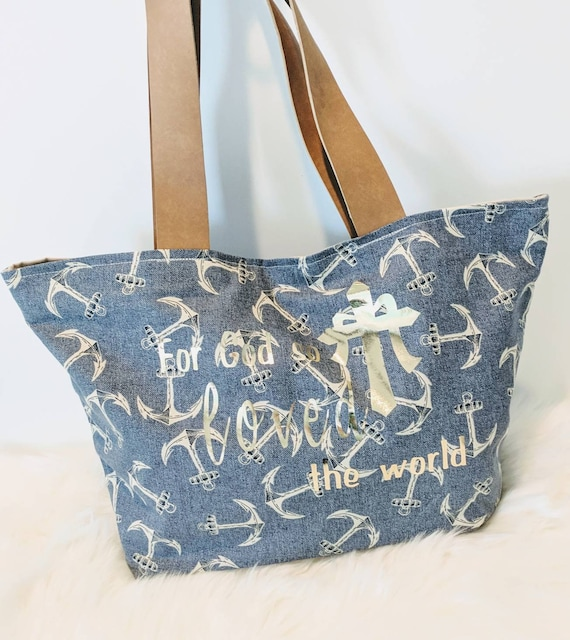 Anchor Tote Bag/ Anchor Bag/ Anchor Tote/ Leather Handles/Custom Made/Tote Bag /Bag/Everyday Bag