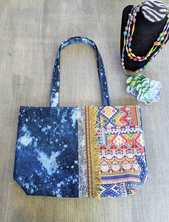 Denim Tote Bag / Hippie Tote Bag