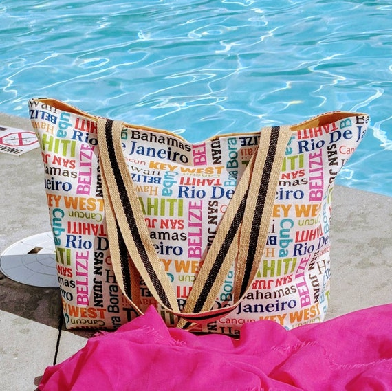 Large Beach Bag/Overnight Bag/Beach Bag/Tote Bag/Custom Made/Vacation Bag/Bahamas Tote Bag