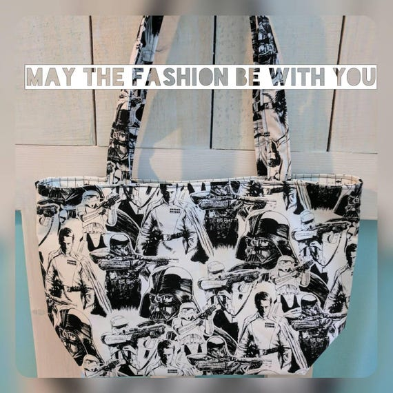 Black and White Star Wars Tote Bag / Star Wars Bag / Nerdy Bag / Star Wars Tote