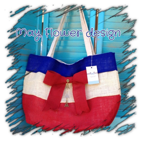 French Inspired Burlap Extra Large Tote Bag Blue White Red