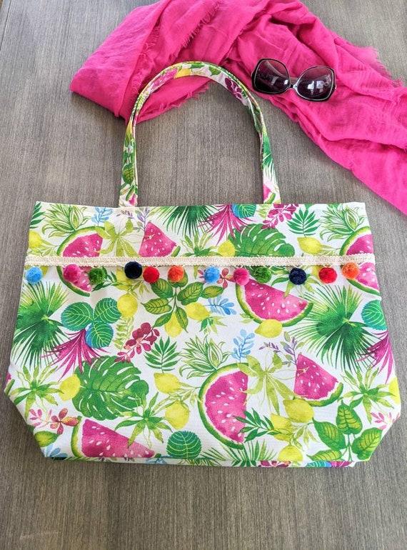 Watermelon Lemons Tropical Beach Bag