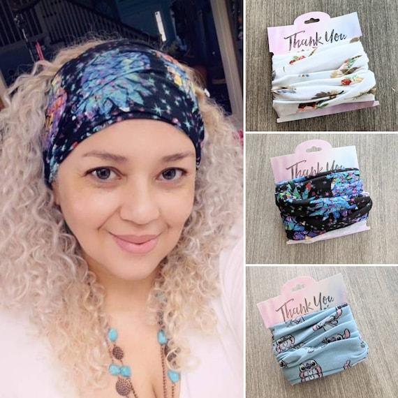 Boho Bandeau Feather Headband / Pineapple bandeau/  Face Cover Headband / Stretchy Yoga Headband / Lilo & stitch Headband / hippie headband