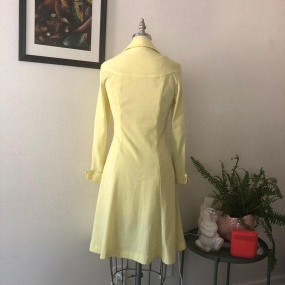 VTG 1970s Lemon Yellow shirt dress - image 3