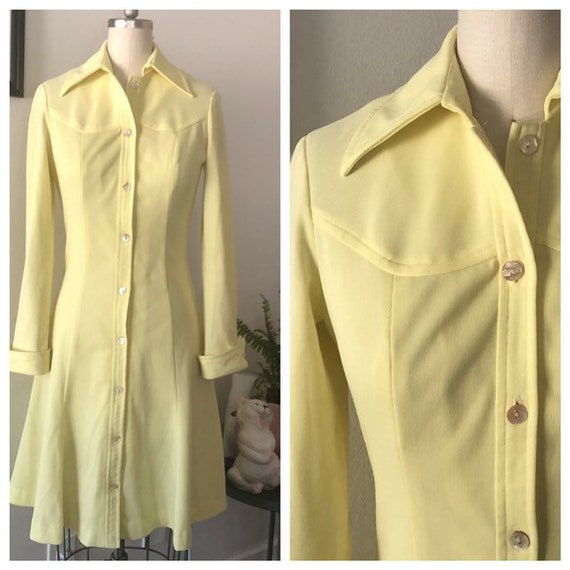 VTG 1970s Lemon Yellow shirt dress