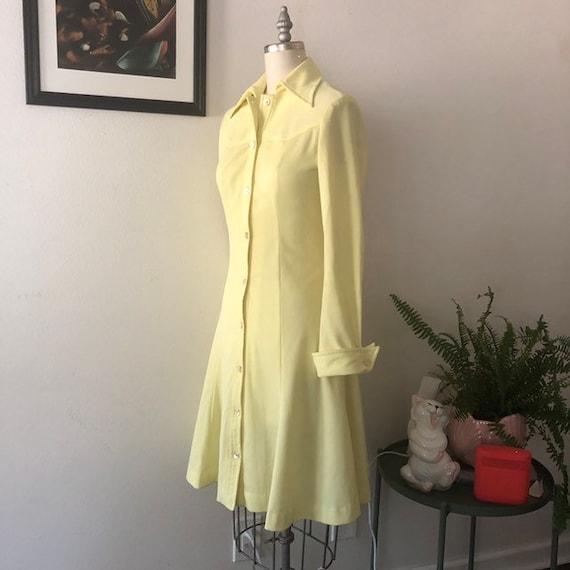VTG 1970s Lemon Yellow shirt dress - image 2