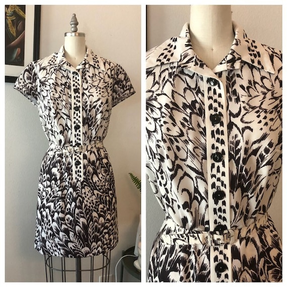 1960s pheasant feather print dress