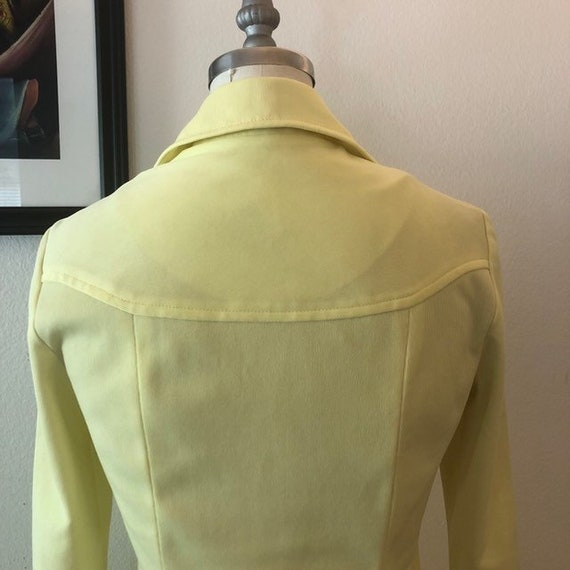 VTG 1970s Lemon Yellow shirt dress - image 7
