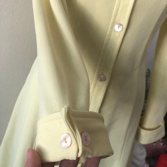 VTG 1970s Lemon Yellow shirt dress - image 6