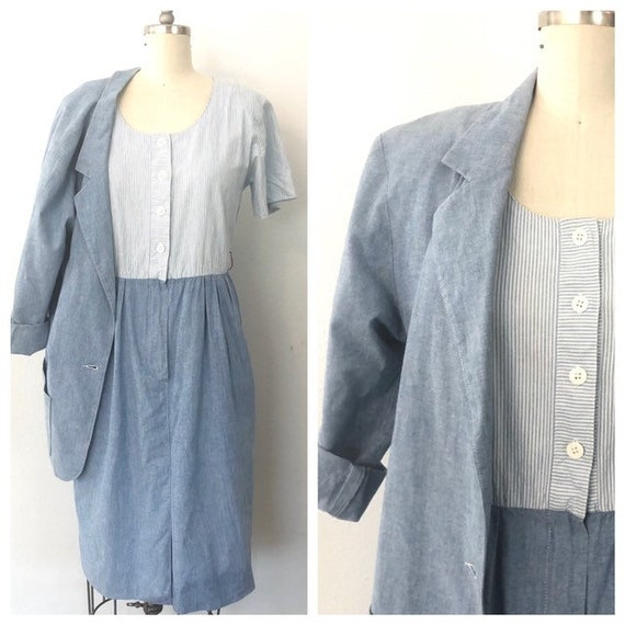 VTG chambray dress/blazer set