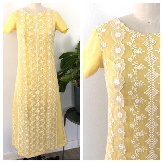 1960s yellow flower organza maxi dress