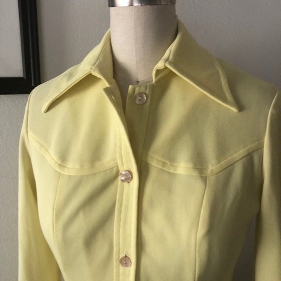 VTG 1970s Lemon Yellow shirt dress - image 4