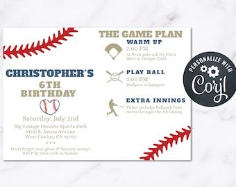 Baseball Birthday Party Invitation INSTANT Download 4x6 Postcard Editable Kids Birthday Adult Birthday Company Picnic