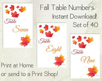Autumn Leaf Table Numbers Printable PDF - Instant Download - Wedding Table Numbers - Fall Leaves - Autumn Wedding - Woodland Table Number