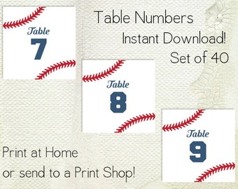 Wedding Table Numbers Printable PDF - Instant Download - Baseball - Softball - Sports - American - Red White and Blue