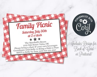 Picnic Party Invitation INSTANT Download 4x6 Postcard Editable Pig Roast I Do BBQ Summer Family Reunion