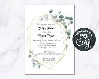 Eucalyptus Gold Frame Bridal Shower Invitation INSTANT Download 5x7 Editable Bridal Shower Invite Geometric Frames