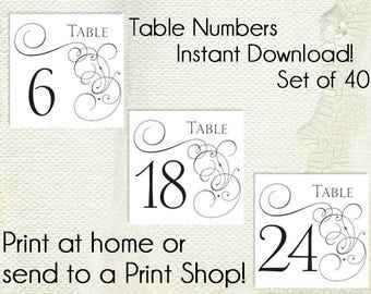 Wedding Table Numbers Printable PDF - Instant Download - Elegant - Square - Traditional