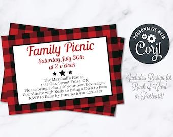 Buffalo Plaid Picnic Party Invitation INSTANT Download 4x6 Postcard Editable Pig Roast I Do BBQ Summer Family Reunion