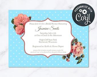Vintage Bridal Shower Invitation Womens Rose Polka Dots INSTANT Download 5x7 Editable Bridal Shower Invite 40s Vintage High Tea