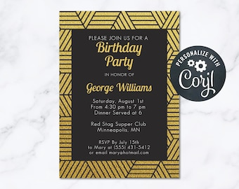 Party Invitation Mens Gold Glitter Art Deco Sophisticated Geometric INSTANT Download 5x7 Editable Manly Invite