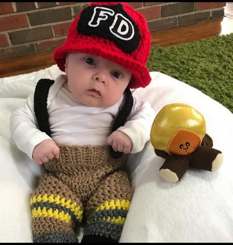 051d44beb Baby Fireman Outfit, Newborn Fireman Costume, Photo Prop, Halloween  Costume, Firefighter, Crochet Baby Fireman Suit