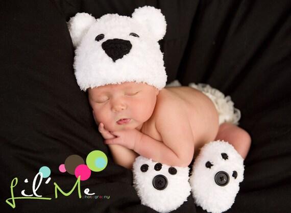 94d8d237bcc Crochet Polar Bear Hat Booties Newborn Photo Prop Baby
