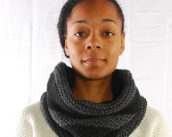 Black and Grey Cowl Scarf