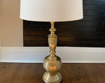 Shade Hollywood Regency Brass Lamp Leonard R Foss Modernist Tribal Bas Relief Chinoiserie Asian Theme in James Mont Style 38\u201d High